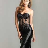 Night Moves by Allure 2013 Homecoming Dresses - Black Bead Lace & Sequin Sheer Strapless Prom Dress