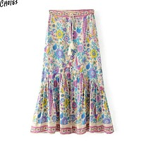Multicolor Floral Print Side Split Maxi Skirt Boho Women Tied High Waist Buttons Up Front Pleated Straight Long Skirts