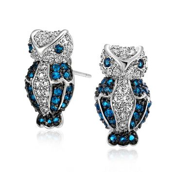 Blue White CZ Wise Owl Bird Stud Earrings  Simulated Sapphire Silver Plated