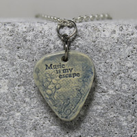 Music is my escape Guitar Pick necklace Blue Pottery Musician Jewelry