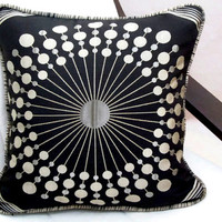 Sunburst pillow cover 18x18 – Embroidery black goldenrod piping cushion cover – Constellation jacquard throw pillow sham sofa toss bedroom