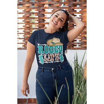 Women's Rodeo Shirt Rodeo Life T Shirt Cactus Cowboy Hat Wild West Graphic Western Tee Turquoise Ladies V-Neck Soft Tee