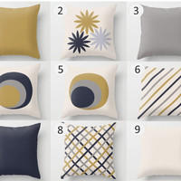 Decorative Throw Pillow Cover - Yellow, Blue, Cream, Grey, Pattern, Mix & Match, Rectangular, Square, Double-sided print, Indoors,Outdoors,