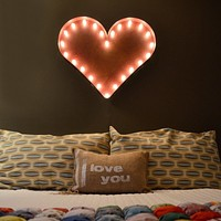 "24"" Heart Vintage Marquee Lights Sign (Rustic)"