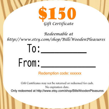 Gift Certificate 150 -  printable redeemable