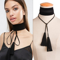 Black Goth Choker Necklaces Women Fashion  Tassel Velvet  Choker Necklaces&pendants 2017  Neck boho Jewelry