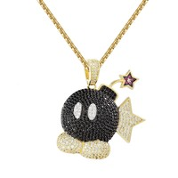 "Cartoon Game Bomb Full Iced Out Black Character Pendant Free 24"" Box Chain"