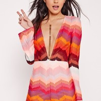 Missguided - Knitted Long Sleeve Romper Pink