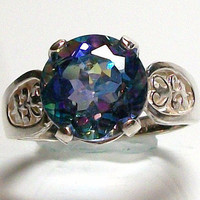 "Blue azotic mystic topaz custom hand set genuine gemstone filagree sterling silver ring s 61/2   ""Captivating"""
