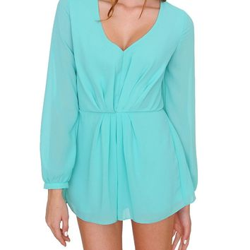 Look At Me Long Sleeve Romper - Sage