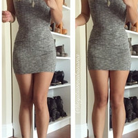 Shorty Ribbed Mini Dress - Charcoal