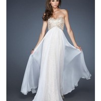 Slight Sweetheart Neckline Prom Dress Flowing Chiffon Skirt Over Lay With The Sparkly Under Lay