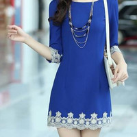 Blue Chiffon Dress with Lace Trim