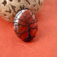 Red veins agate black wire-wrapped Tree of Life pendant