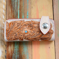 HAND TOOLED ➳ NATURAL TONE FLORAL LEATHER WALLET