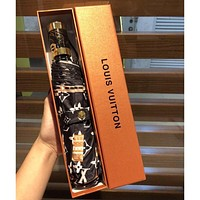 Louis Vuitton LV Fashion New Men's and Women's Tower Printing Letter High-end Automatic Umbrella