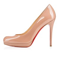 Christian Louboutin Cl New Simple Pump Nude Patent Leather 120mm Stiletto Heel Classic -