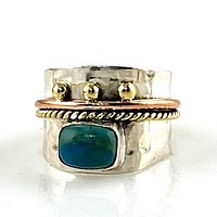 Peruvian Blue Opal Three Tone Sterling Silver Regal Band Ring