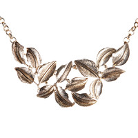 Pendant with Floral Charms Bib Chain Necklace