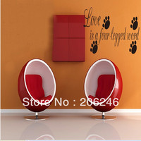 """Characters """"Love Is A Four-legged Word"""" Vinyl Wall Art Decals Window Stickers Home Decor SM6"""
