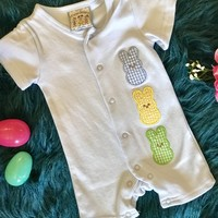 Three Sisters Boys Baby Blue Three Bunny Easter Romper