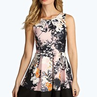 Anais Floral Box Pleat Skater Dress