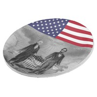 George Washington Abraham Lincoln American Flag Paper Plate