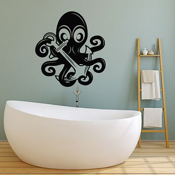 Vinyl Wall Decal Octopus Ocean Sea Marine Animal Anchor Stickers Mural (g3611)