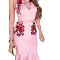 Pink Floral Embroidery Condole Belt Drawstring Two Piece Party Midi Dress