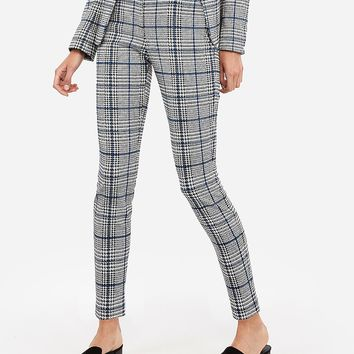 Mid Rise Mixed Herringbone Stretch Skinny Pant