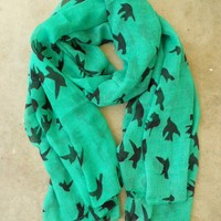 Sparrows in Flight Verte Scarf [9991] - $16.00 : Vintage Inspired Clothing & Affordable Summer Dresses, deloom | Modern. Vintage. Crafted.