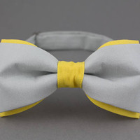 Gray Bow Tie Yellow Bow Tie Double Color Bow Tie for Men Wedding Bow Tie Modern Bow Tie Mens Bow Tie Gift for Men in Gray Bartek Design
