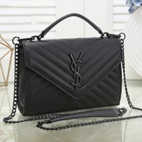 YSL Yves Saint Laurent Classic Popular Women Leather Handbag Shoulder Bag Crossbody Satchel Black