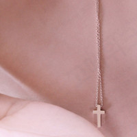 Small Cross pendant necklace by SweetrainArt on Etsy