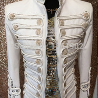 Men Plus size white buttons performance  blazer outerwear ds dj singer dancer coat jazz slim jacket stage costume male clothing