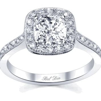 Halo Pave Engagement Ring Square Setting