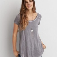 AEO Soft & Sexy Lace Back T-Shirt , Berry Jam | American Eagle Outfitters