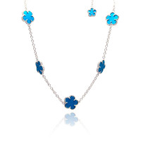 .925 Sterling Silver  Flower Necklace