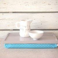 Supermarket:  Laptop Lap Desk or Breakfast serving Tray - Soft grey with Aqua and White polka Dots - Custom Order from EJ butik