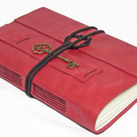 Large Rose/Light Pink Leather Journal with Key Charm Bookmark