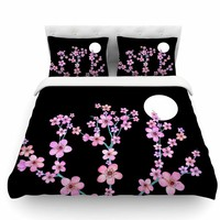 Cherry Blossom at Night by Julia Grifol Featherweight Duvet Cover