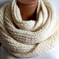 In addition, hair band gift,Knit infinity Scarf. Block infinity Scarf. Loop Scarf, Circle Scarf, Neck Warmer.Cream ivory Crochet Infinity