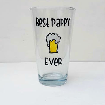 Best Pappy Ever hand-painted pint glass