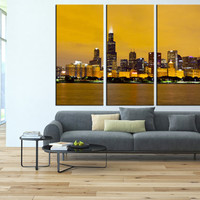 Chicago Canvas print Chicago wall art, Chicago Skyline wall art canvas, Chicago Night Canvas Print, extra large wall art Ready to Hang  t142
