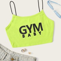 Neon Lime Slogan Print Crop Cami Top