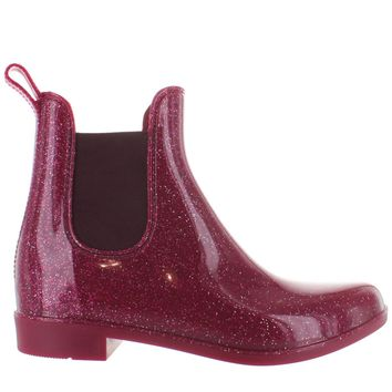 Kixters Jodith - Plum Sparkle Patent Pull-On Rubber Rain Boot