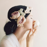 Spring bloom bridal silk flower crown, dusty rose - Style no. 2012