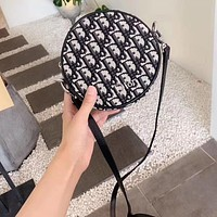 DIOR Fashionable embroidered canvas small round cake bag zipper single-shoulder cross-body bag vintage women