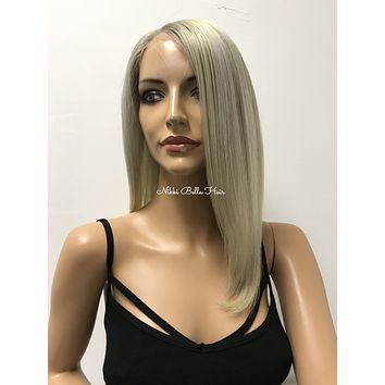 "Light Ash Blonde Remy Human Hair Multi Parting Full Lace Wig 10"" Mikayla"
