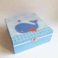 Personalised Wooden Baby Keepsake Box baby shower baby box gift for boy whale box blue